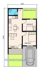 Denah Rumah 2 Kamar 6×12 Meter