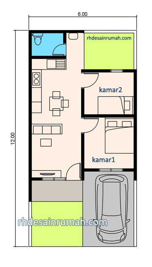 Contoh Denah Rumah Kantor  desain rumah 6x12 1 lantai contoh gambar denah fasade