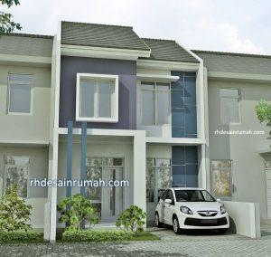 Desain Rumah Perpaduan Warna Putih Biru Ungu Elegan