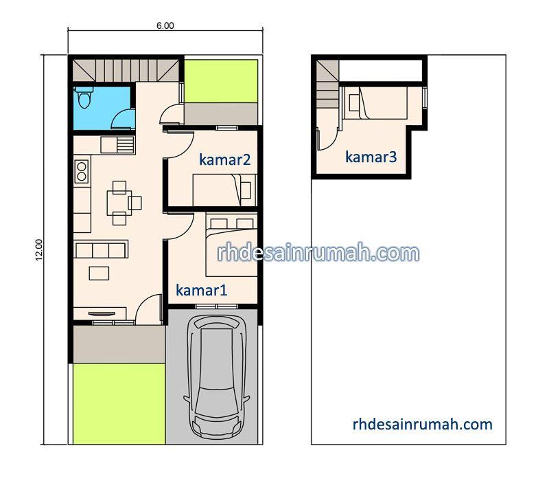 rumah 6x12 satu setengan lantai 3 kamar