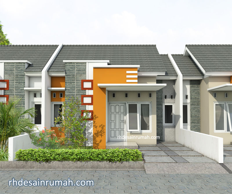 Rumah Minimalis Modern Aksen Warna Orange