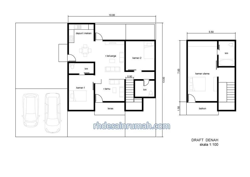 denah rumah mewah minimalis 2 lantai