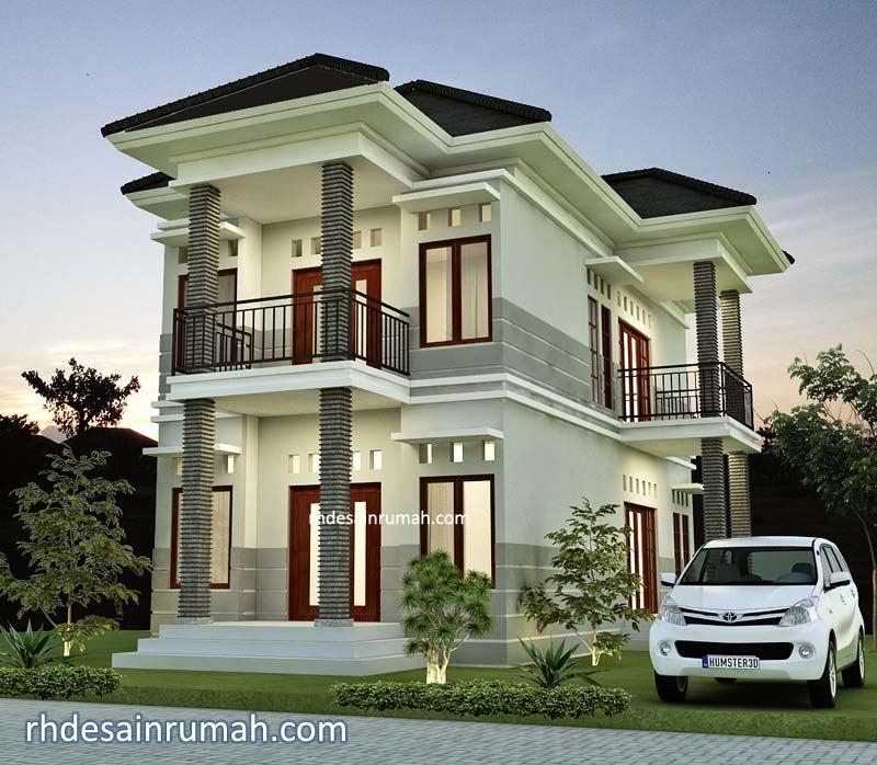 Desain Rumah Mewah 2 Lantai dengan Kolom Megah