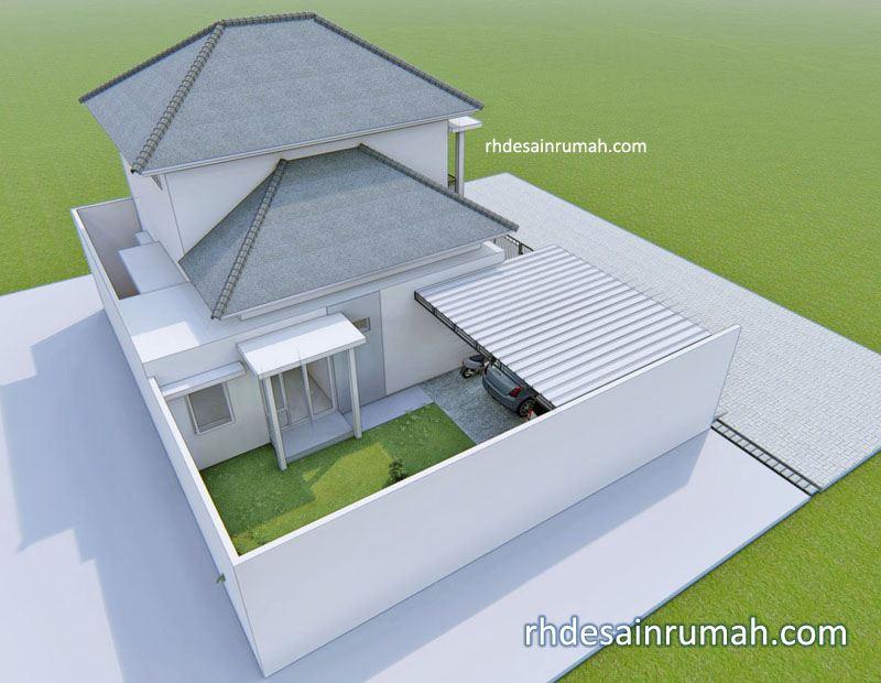 perspektif rumah mewah minimalis dari belakang