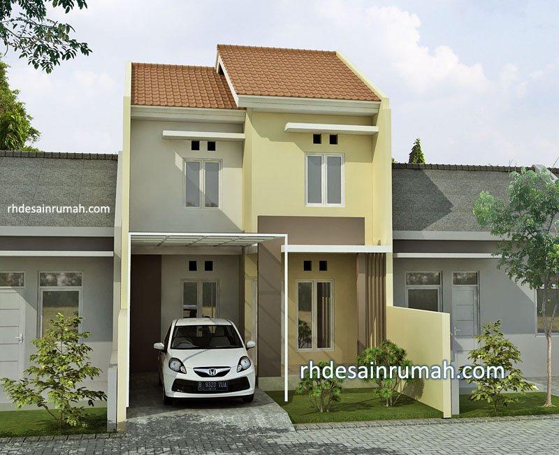Desain Rumah 2 Lantai Krem Sederhana