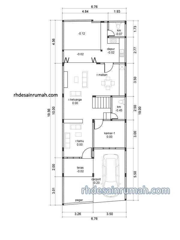 denah rumah 6x20 2 lantai