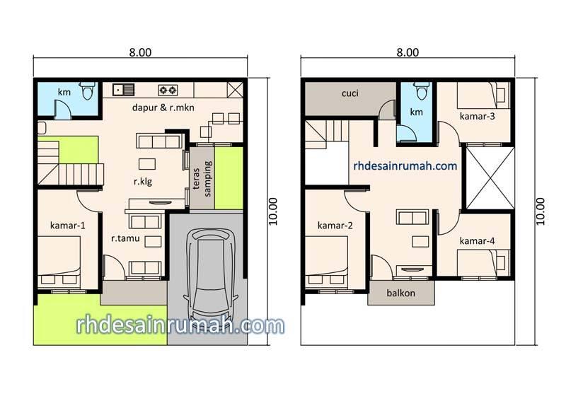 Denah Rumah 8x10 Dengan Teras Samping Contoh Desain