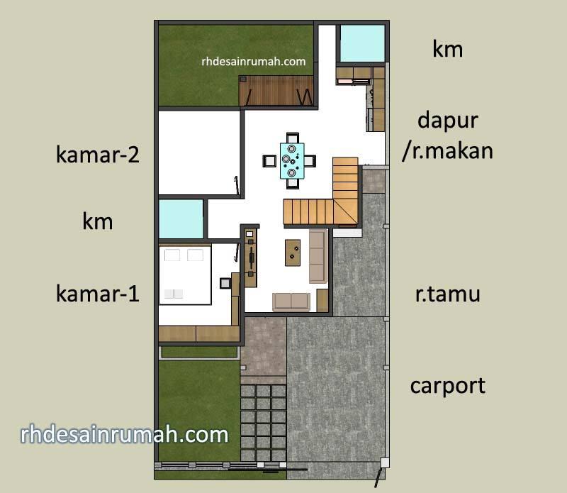 denah rumah 8x15 lantai1