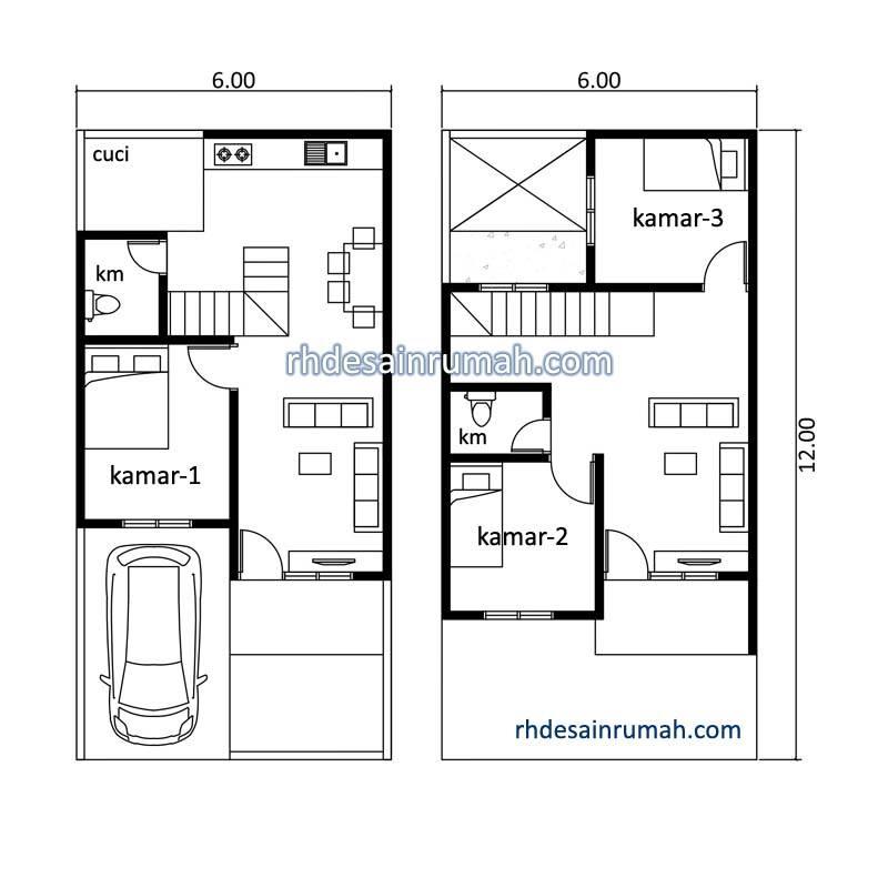 denah rumah tingkat 3 kamar dan ada balkon