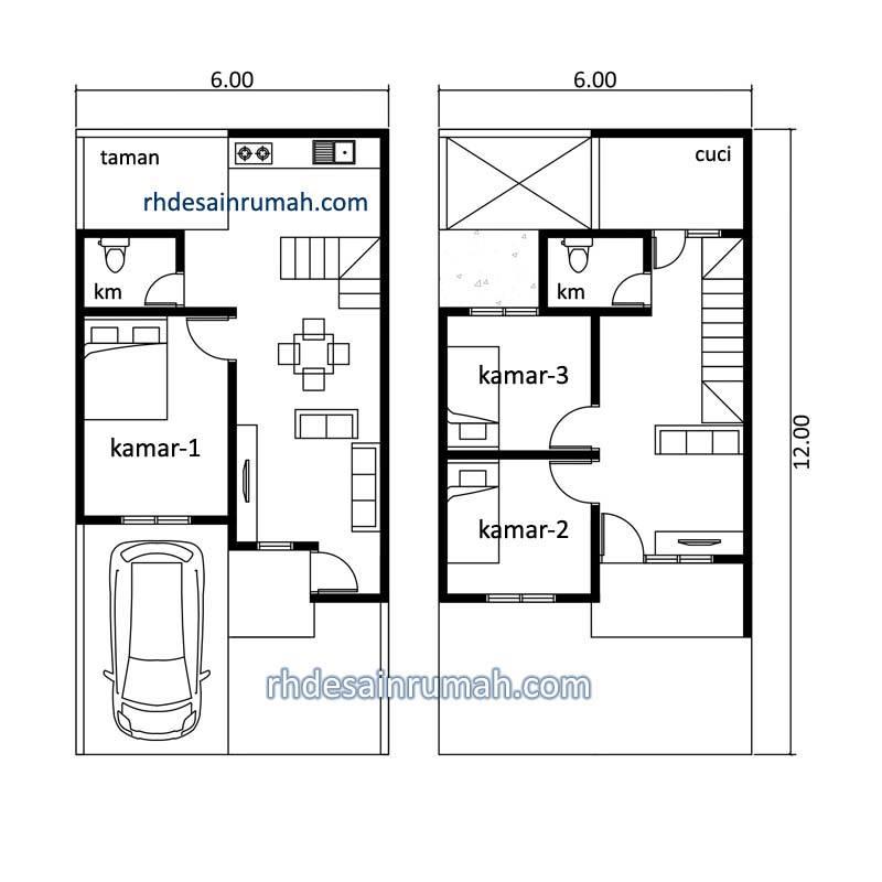 denah rumah tingkat 6x12 meter