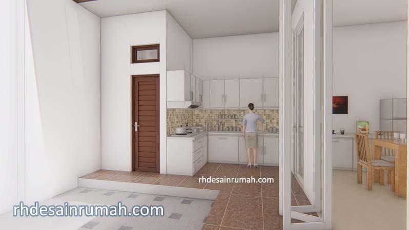 desain dapur semi terbuka di belakang rumah