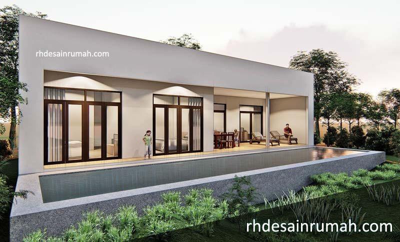 desain rumah villa dengan kolam renang