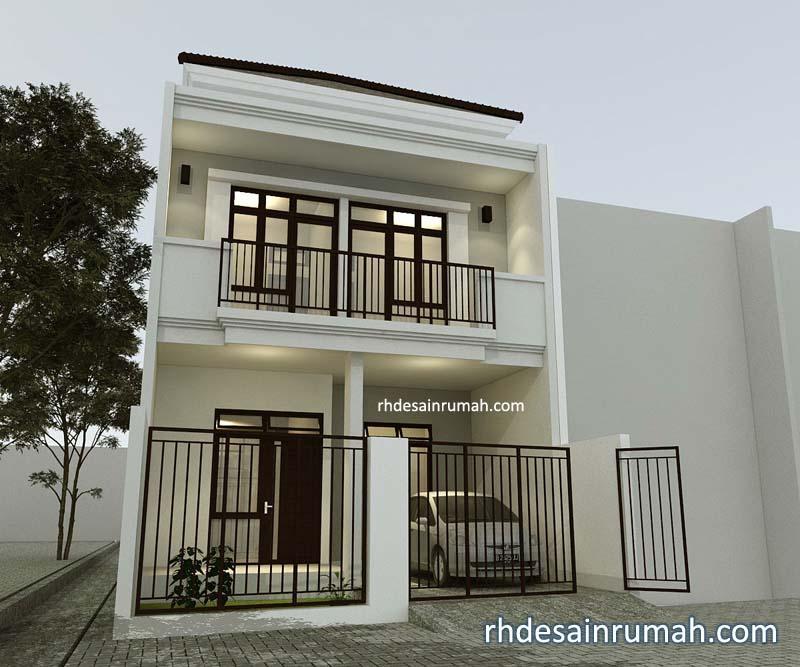 Fasade Rumah 6×20 Minimalis Putih