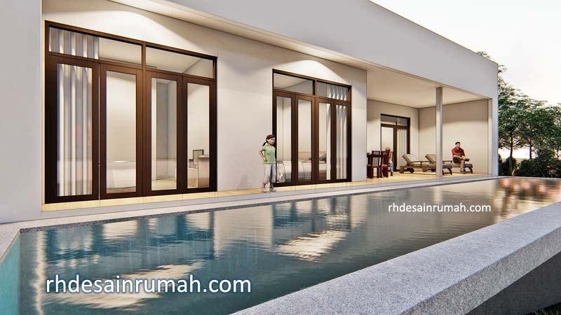 Desain Rumah Villa dengan Kolam Renang, Minimalis Modern