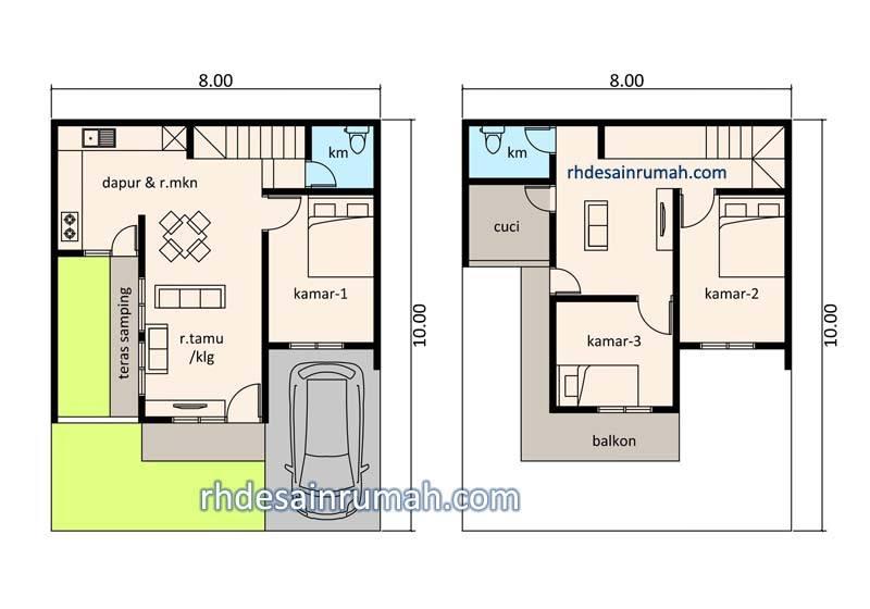 Contoh Denah Rumah Persegi Panjang denah rumah 8x10 dengan teras samping contoh desain