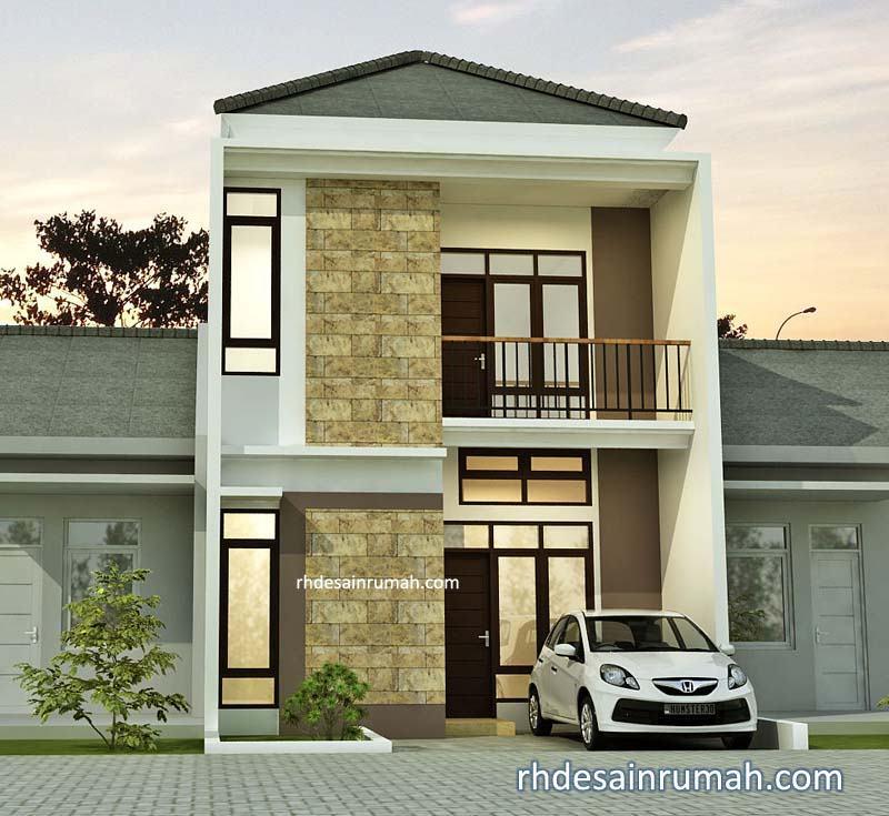 desain rumah dengan batu alam nuansa krem