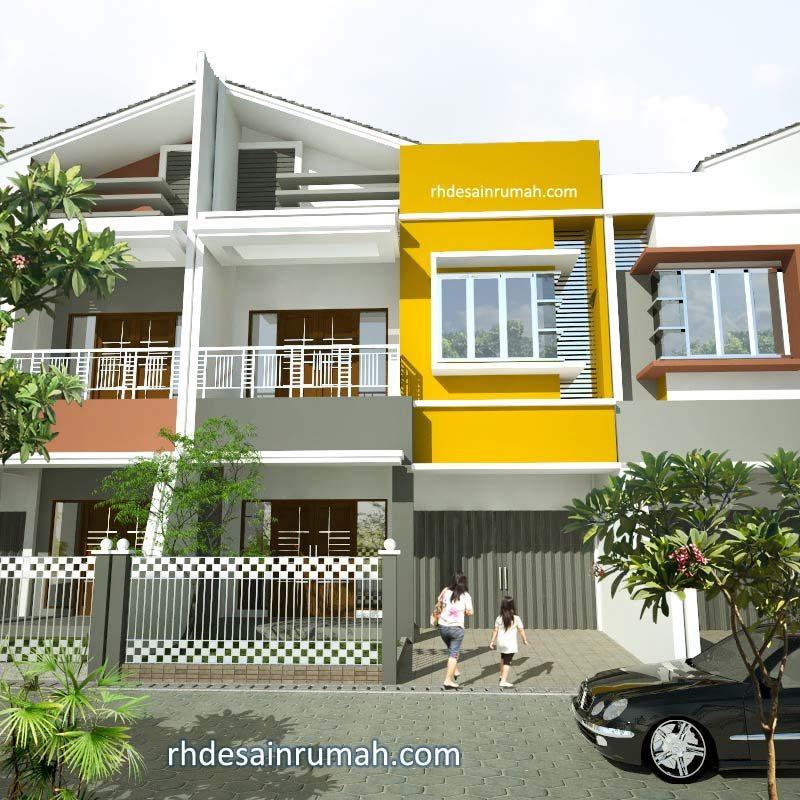 Desain Rumah Minimalis 2 Lantai Modern Aksen Kuning