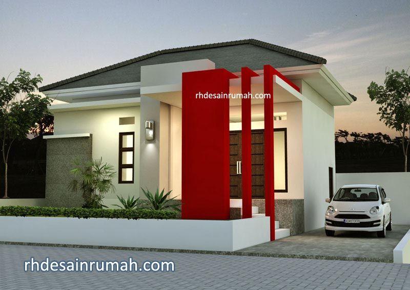 Desain Rumah 1 Lantai Lebar 10 Meter Aksen Merah