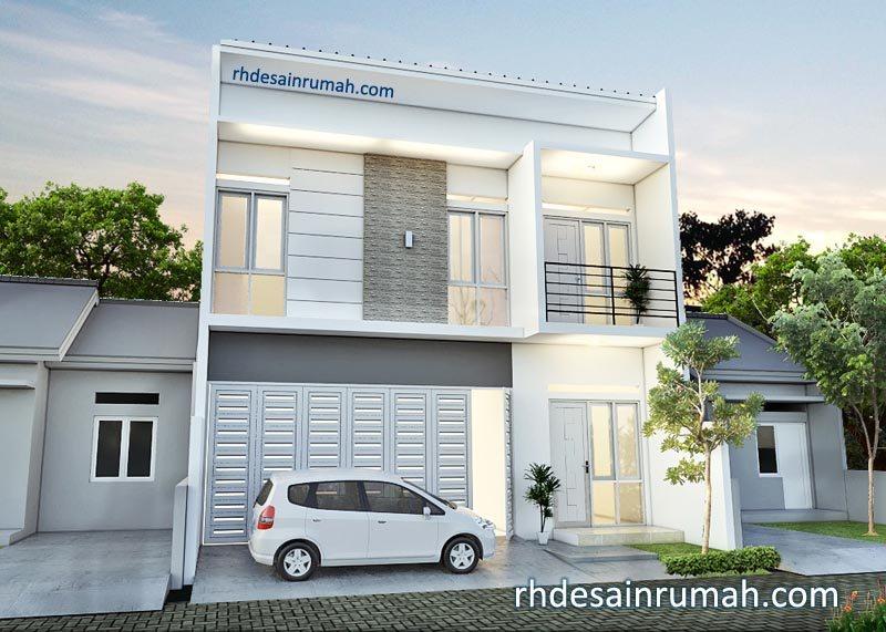 Desain Rumah 2 Lantai Elegan Nuansa Putih Abu-Abu