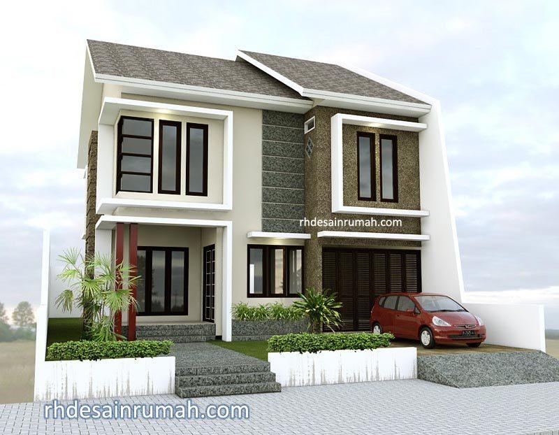 Desain Rumah Modern 2 Lantai Warna Cream Batu Alam