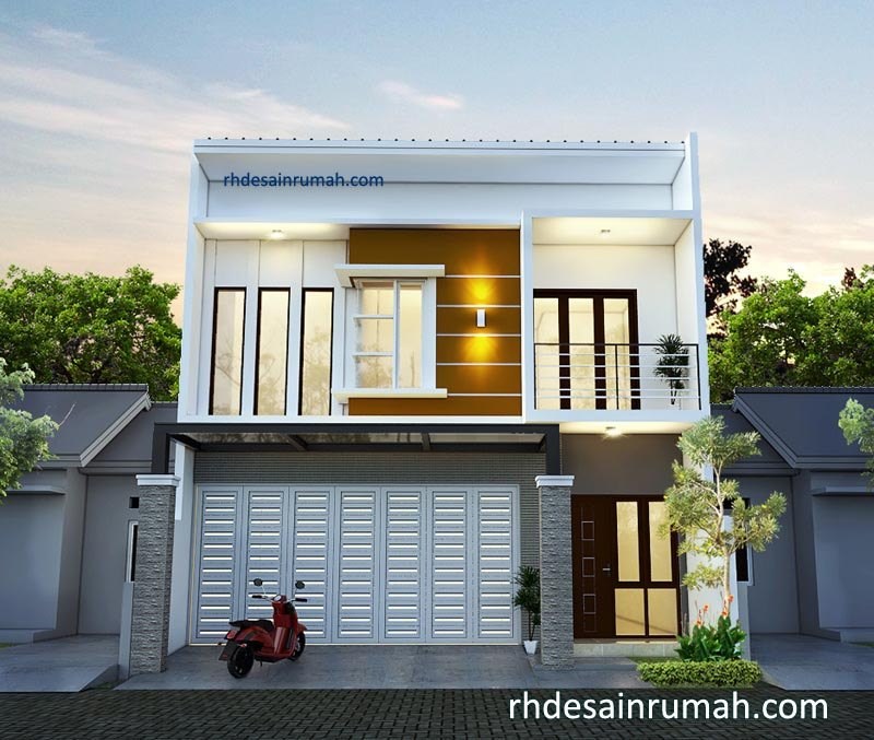 Rumah 2 Lantai Gaya Modern Dengan Garasi