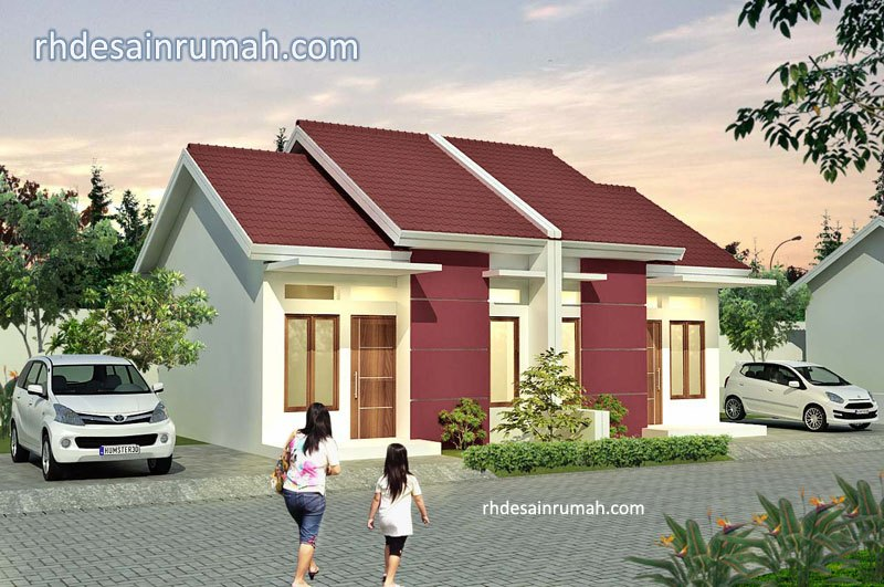 Desain Rumah Cluster Atap Merah Dinding Putih
