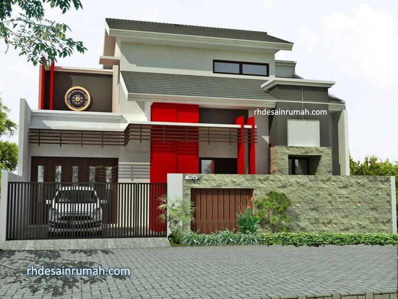 Desain Rumah Modern Merah di Jepara