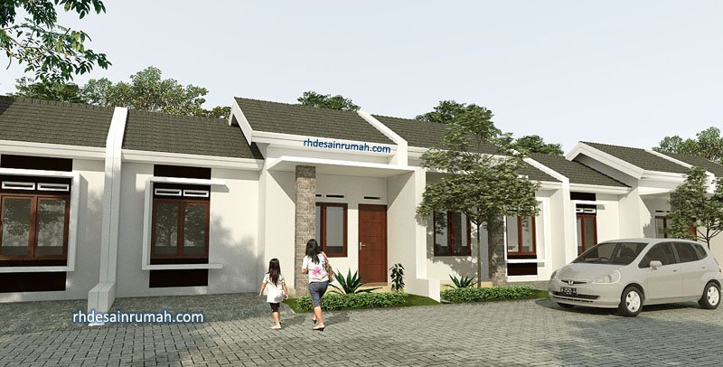 Desain Rumah lebar 6 meter Putih Sederhana