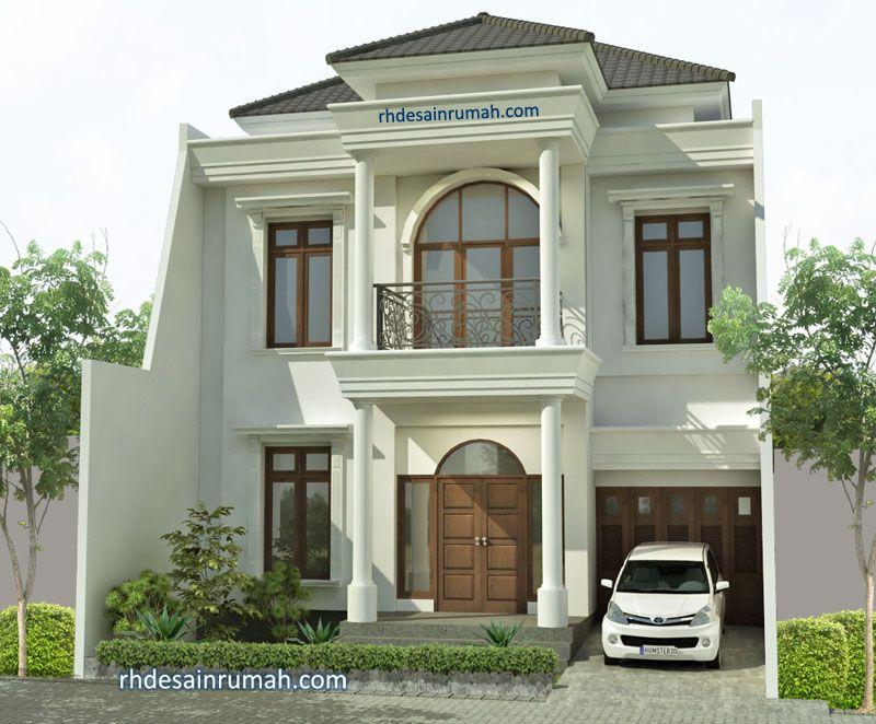 Fasade Rumah Megah Mediterania Putih di Depok
