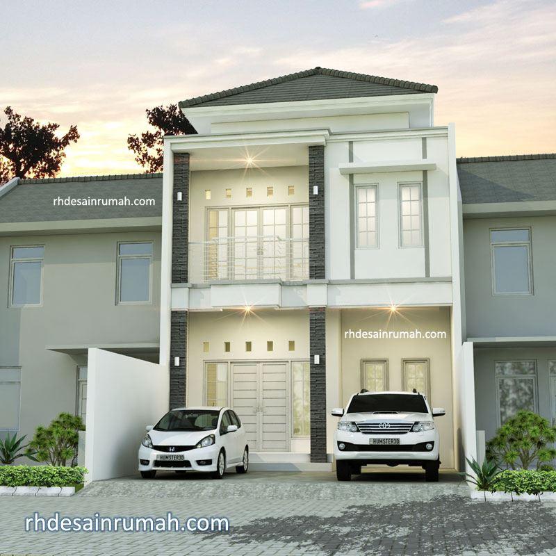 rumah putih 2 lantai dengan carport luas