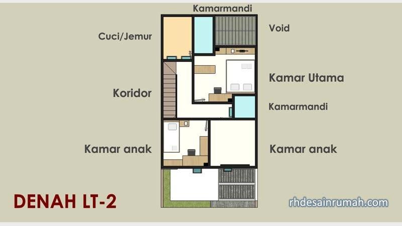 denah lantai 2 rumah modern sederhana 6x12