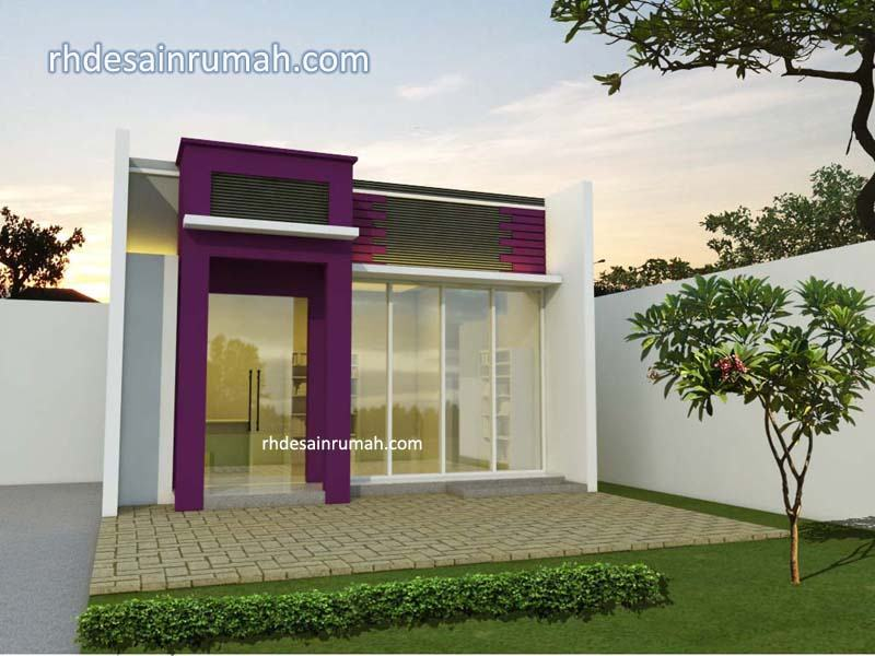 Desain Toko minimalis Modern Ungu di Malang