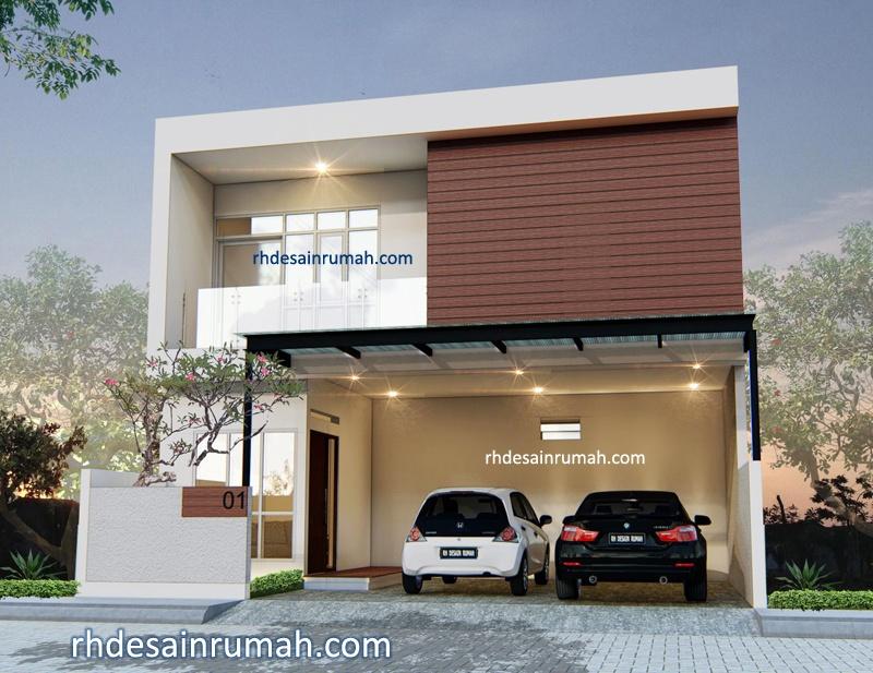 Desain rumah modern aksen conwood di Bandung