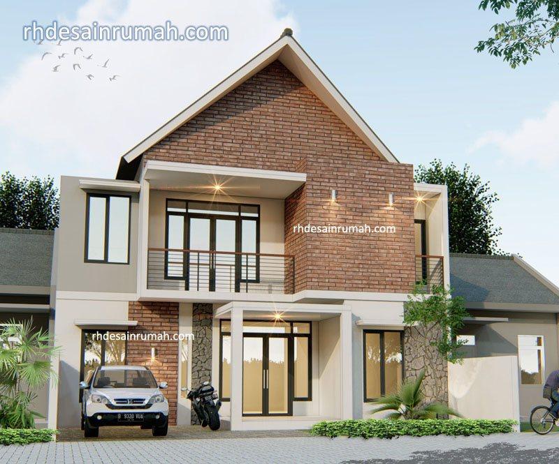 Fasade Rumah aksen bata expose di Magelang