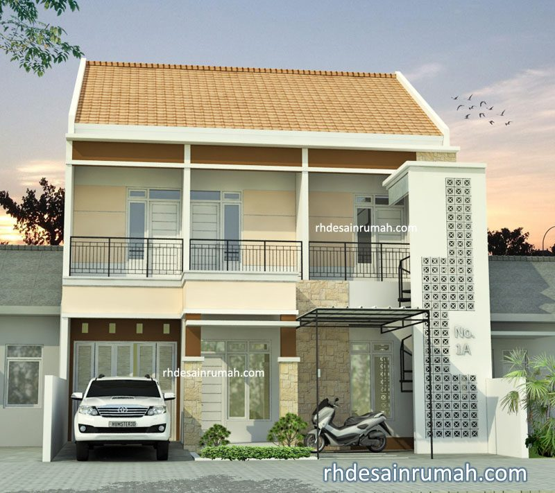 Fasade Rumah lebar 10m atap pelana di Surabaya