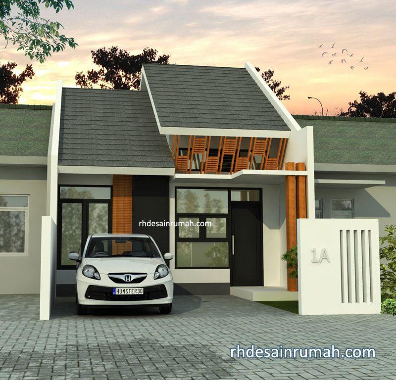 Fasade Rumah mungil dengan jalusi orange di Cirebon