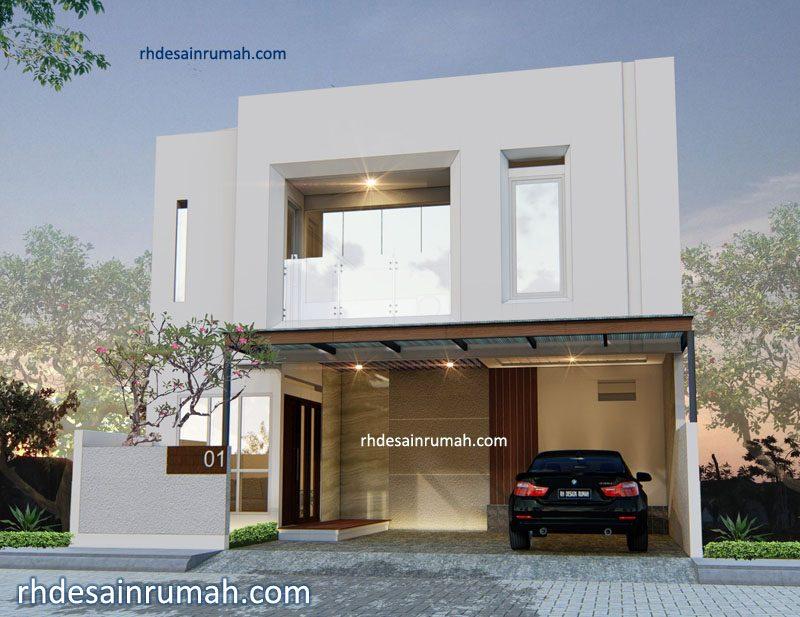 Fasade Rumah putih minimalis modern di Jogja