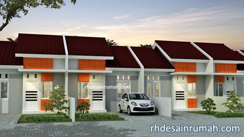 Fasade perumahan elegan aksen orange di jakarta
