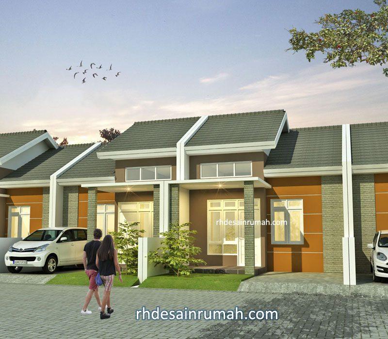 Fasade perumahan sederhana aksen coklat lebar 6 meter