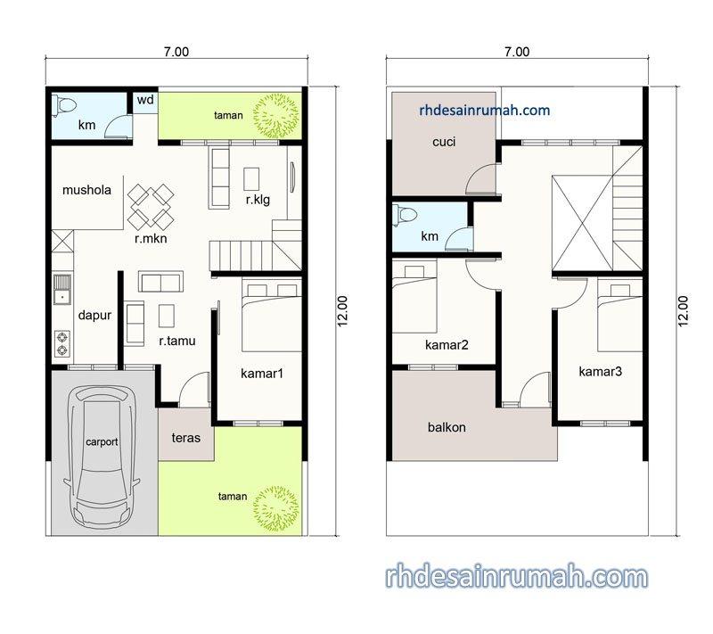 denah rumah 3 kamar dan mushola tanah 7x12
