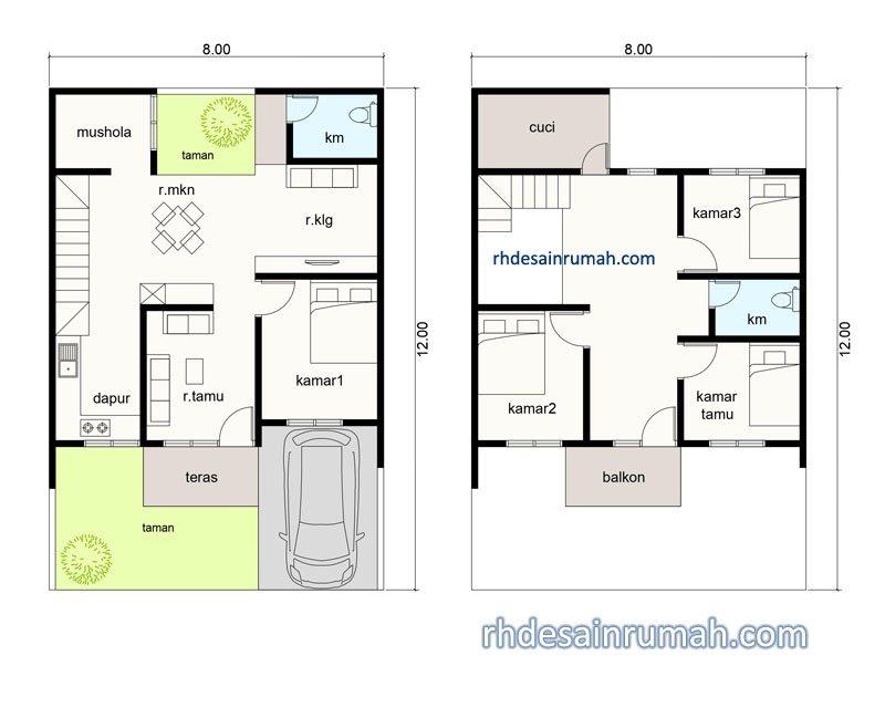 denah rumah mushola 8x12