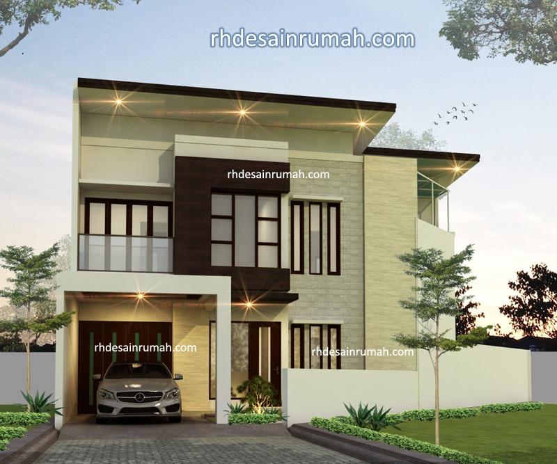Desain Rumah modern lahan segi lima di Bogor