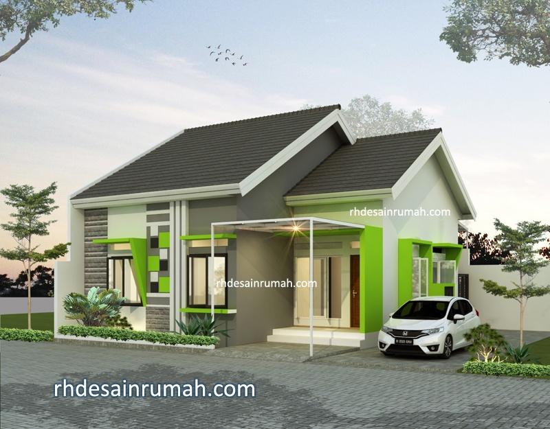 Fasade rumah modern aksen unik warna hijau Tangerang