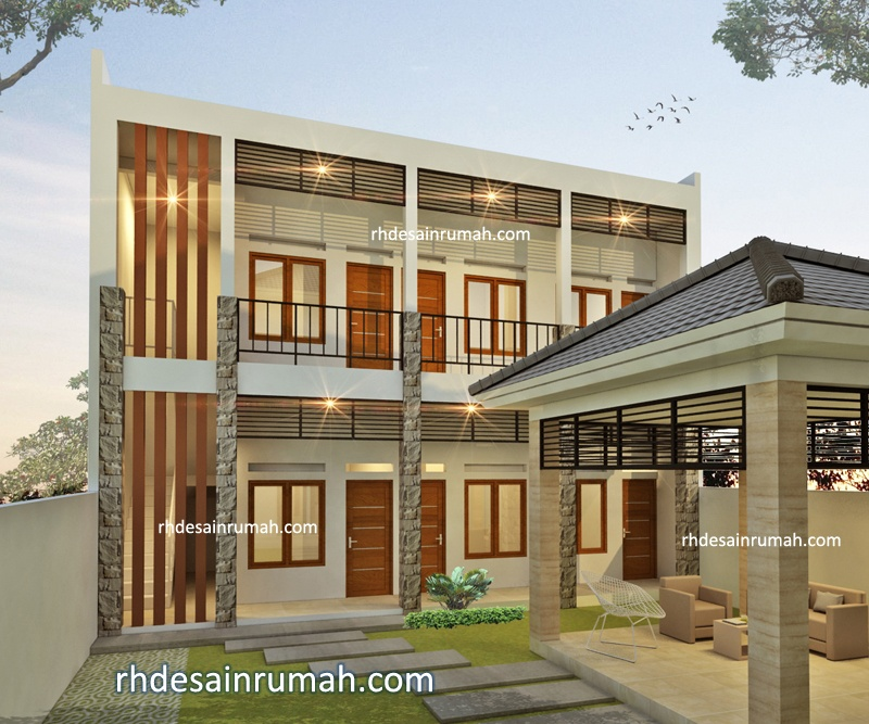 Jasa Desain Megah Rumah Huni dan Kost 2 Lantai Tampak Kost