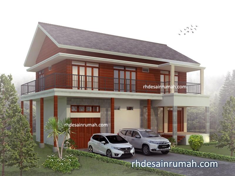 Desain Rumah Villa 2 Lantai Aksen Kayu