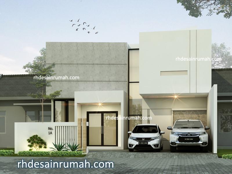 Fasade Rumah Modern lebar 9 meter di Surabaya