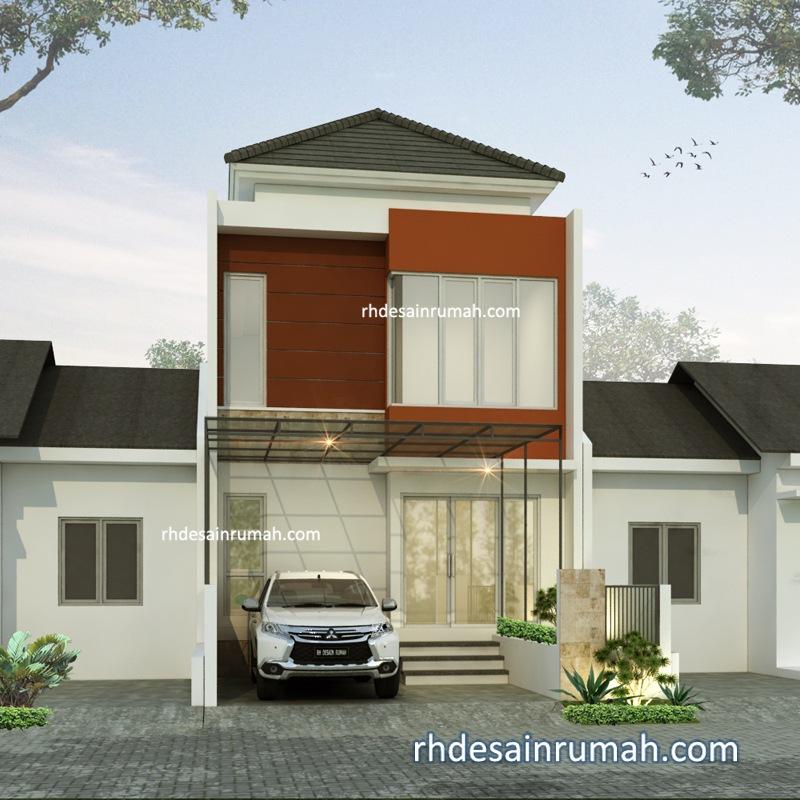 Rumah 2 Lantai Putih Merah Bata di Jogja