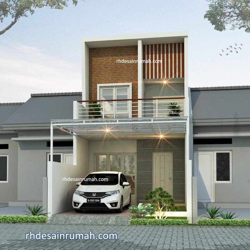 Desain Rumah Modern Sederhana Aksen Bata Expose