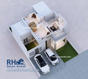 Denah 3D Rumah 2 Lantai
